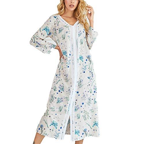 ZHJC Damen Winter Fleece Bademantel Bedruckter Pyjamas Herbst- und Winterfrauen langärmlig gedruckte Pyjamas...