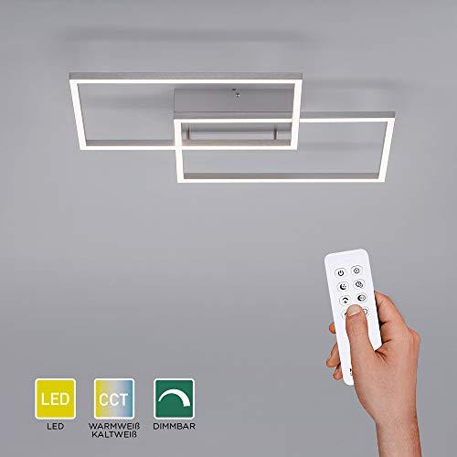 LED Deckenlampe dimmbar, 50x42cm, Deckenleuchte mit 2 Leuchtrahmen | Farbtemperatur mit Fernbedienung einstellbar, warmweiss - kaltweiss | Deckenpanel mit Memory-Funktion für Wohnzimmer & Küche