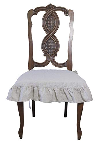 Linen Chair Seat Slip Cover 4 Sided Ruffle Large (Natural)