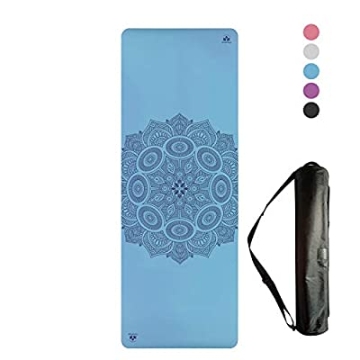 Clever Yoga Premium LiquidBalance Mat Eco and Body Friendly Sweat Grip Non-Slip with Carrying Yoga Bag (Mandala-Blue)
