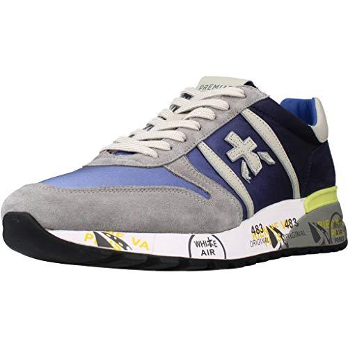 PREMIATA - Uomo Lander 4587 Scarpa Sneakers in Pelle e Tessuto Blu - 32291-45