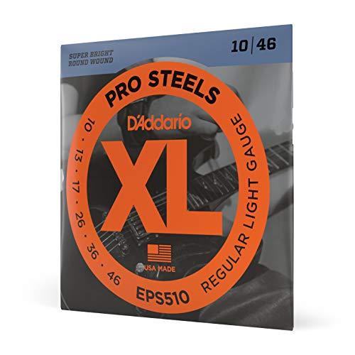 D'Addario EPS510 - Juego de cuerdas para guitarra eléctrica de acero, 010' - 046', transparente