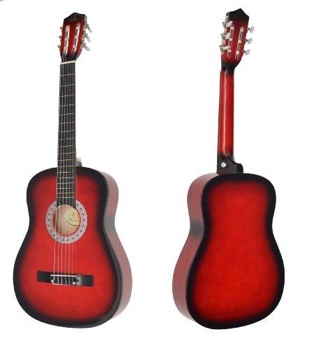 Ts-Ideen 5264 Akustik Gitarre Klassikgitarre Konzertgitarre mit Tasche, Gurt, Saiten und Plektrum rot/schwarz - 2