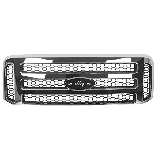 ECOTRIC Front Grille Chrome Compatible with 1999-2004 Super Duty F250 F350 F450 F550 Excursion New Front Grille Grill