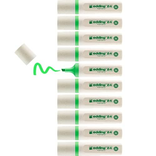 edding 24 - EcoLine Textmarker - 10er Box - hell-grün - Keilspitze - Neon-Highlighter zum Markieren und Hervorheben von Texten