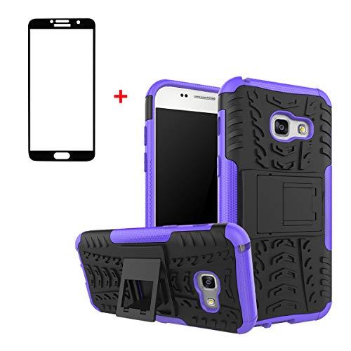 FullProtecter Funda Samsung Galaxy A3 2017 Grados Caso Caja Morado, Anti-Choquesy Anti- Arañazos Silicona Case para teléfonos móviles Antigolpes TPU +2 Pack Protector de Pantalla para Vidrio Templado