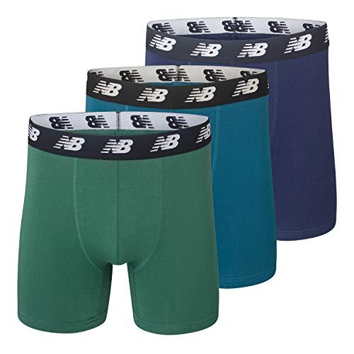 New Balance Men's No-Fly Cotton Performance Boxer Briefs, 5 Inch Inseam (3 Pack of Men's Underwear)