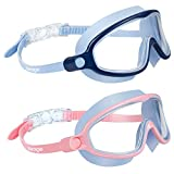 Swimming Goggles 2 Pack Kids Goggles No Leaking Anti Fog Wide...