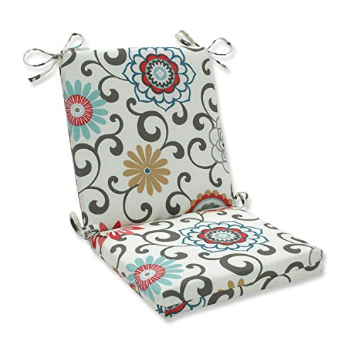 """Pillow Perfect 543611 Outdoor Pom Pom Play Peachtini Squared Corners Chair Cushion,Blue,36.5"""" x 18"""""""