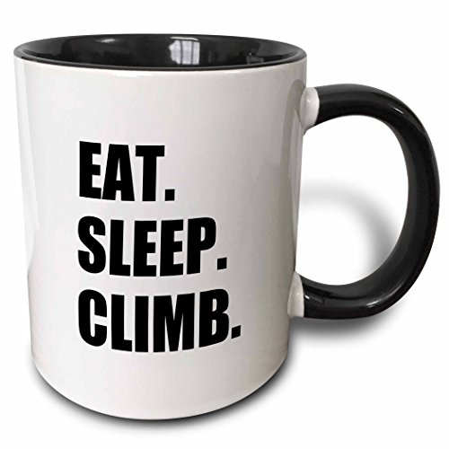 3dRose Eat Sleep Passionate Rock Climber Text-Climbing Sport Hobby Two Tone Mug, 11 oz, Black