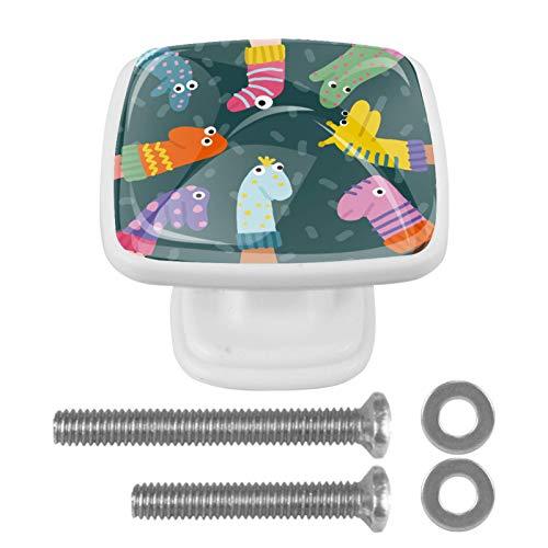 Tirador de cajón con tornillos Marionetas De Calcetines Divertidos Perillas de gabinete cuadradas de bricolaje, vidrio para el hogar, armario, cocina, tocador y armario 4 piezas 3x2.1x2 cm