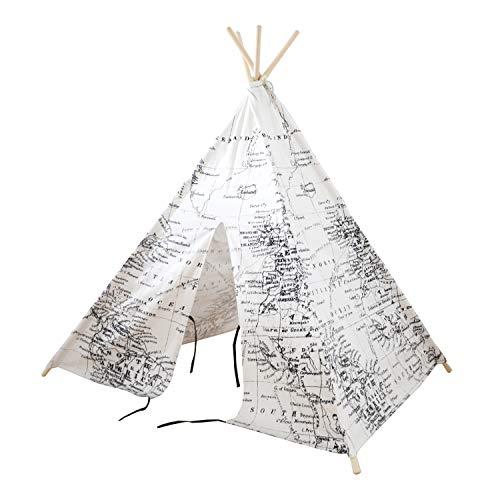 Sunny Wereldkaart Tipi Tent Zwart/wit - FSC houten stokken