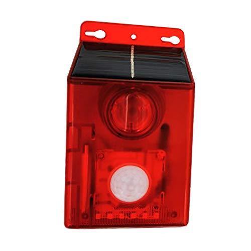 perfk Luz de Sirena de Advertencia de Sonido de Luz de Alarma Estroboscópica Solar con Sensor de Movimiento 125db