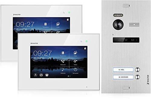 BALTER EVO Video-Türsprechanlage ✓ 2 x Touchscreen 7 Zoll Monitor ✓ 2-Draht BUS ✓ Türstation für 2 Familienhaus ✓ 150° Weitwinkel-Kamera