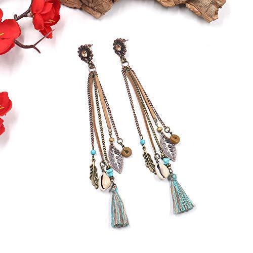 feilai Pendientes largos bohemios de piel con borla para mujer, joyería tibetana vintage, pendientes gitanos de concha de verano (color de metal: estilo 2)