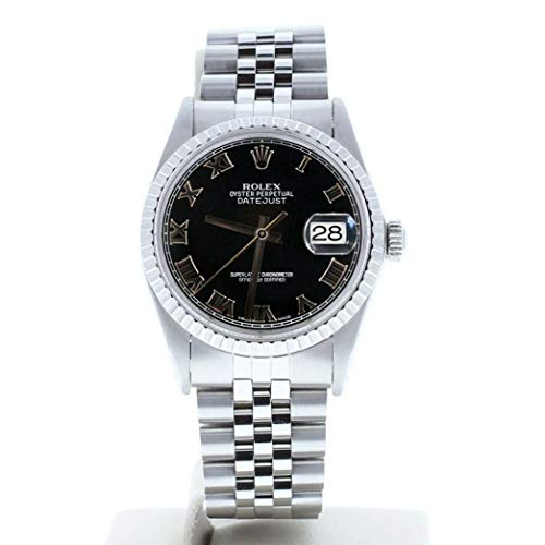 Rolex-Mens-Stainless-Steel-Datejust-16030-Black-Roman-Dial-Engine-Bezel-Certified-Preowned