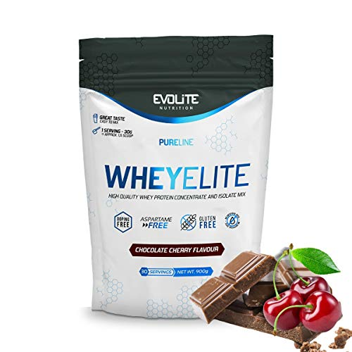 EVOLITE Nutrition WHEYELITE 900g Isolate + Protein Concentrate - Excellent Taste - Amino Acids - Ideal Source of Protein in The Diet of Every Athlete (Chocolate Cherry)