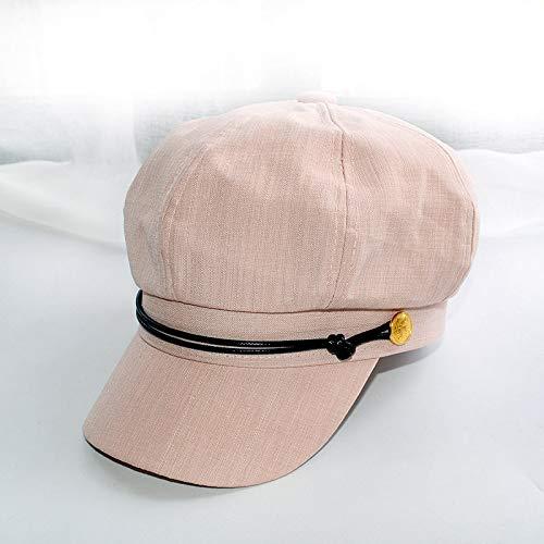 Sombrero Boina Femenina Verano sección Delgada Marea Cabeza Grande Estilo Marino Gorra Octogonal Retro británica Gorra de Pintor japonés