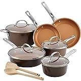 Ayesha Curry 10767 Porcelain Enamel Nonstick Cookware Set44; Brown Sugar44; 12 Piece