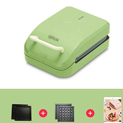 Plaque de cuisson électrique Grill Gaufrier Sandwich Maker antiadhésifs interchangeables Plaques haute puissance 750W automatique température constante 600W Vert KNDTA