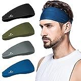 poshei Mens Headband (4 Pack), Mens Sweatband & Sports Headband for Running, Cycling, Yoga, Basketball - Stretchy Moisture Wicking Unisex Hairband (Black / Grey / Blue / Dark Green)