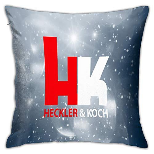 Gypsophila - Fundas de almohada con estampado en 3D, logotipo de Heckler y Koch en el pecho rojo, funda de cojín decorativa cuadrada para sofá, decoración del hogar, 45 x 45 cm
