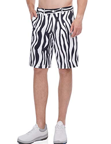 Men Golf Shorts Lightweight Summer Bermuda Stretch Relaxed Fit Shorts Golf with Pockets Fit 36 Zebra Striped