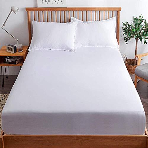 WYTX 1 sábana de colchón de cuatro esquinas, con bolsillo elástico solo sábana de cama, no se encoge ni se decolora (una variedad de colores para elegir), blanco, 200 cm/220 cm estándar.