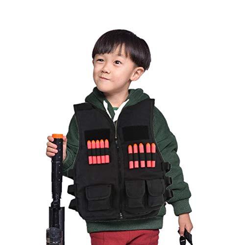 Kinder Tactical Weste Kit Boy Kinder Armee Schwarz Camouflage Tactical Jacke Weste Airsoft Combat Weste Training Weste mit 10Pcs Kugeln Darts für Nerf Toy Gun Cs Spiel Jagd Weihnachtsgesch(Schwarz)