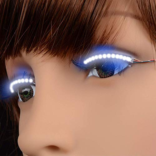 Teekit Cils LED imperméable interactif Cils Brillant Brille paupière pour Party Nightclub KTV Halloween