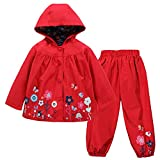 TURMIN Kinder Regenjacke Jungen Mädchen Regenanzug Regenbekleidung wasserdichte Kinderjacke Baby Kleinkind Winddichte Jacke Regen Poncho, Alt-Rot, 110 (2-3 Jahre)