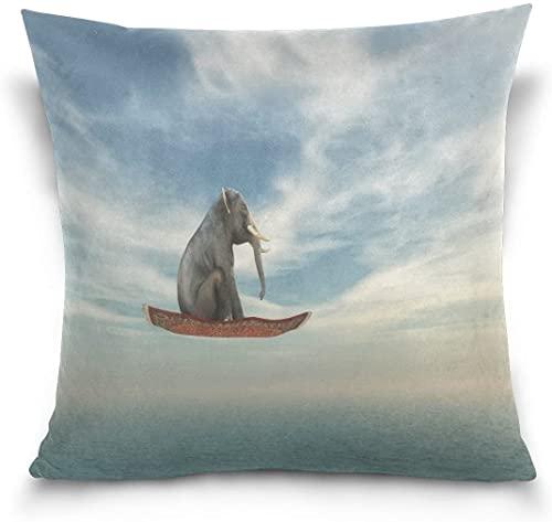 Throw Pillow Case Funda de cojín Decorativa Funda de Almohada Cuadrada, Divertido Elefante Flying Ocean Sea Sofá Cama Funda de Almohada (18x18 Pulgadas)