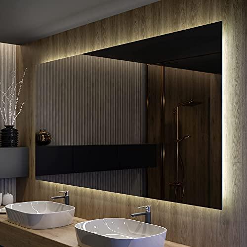 Artforma Badspiegel 100x60cm mit LED Beleuchtung - Wählen Sie Zubehör - Individuell Nach Maß - Beleuchtet Wandspiegel Lichtspiegel Badezimmerspiegel   beleuchtet Bad Licht Spiegel L58
