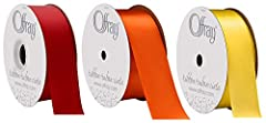 3 Pack Bundle - One 10 yard x 1.5 inch spool each of Red + Torrid Orange + Lemon Yellow Double face satin ribbon is a silky, luxurious style of ribbon that's great for wedding and seasonal decorations, gift wrapping, clothing alterations and embroide...