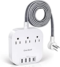Power Strip with USB C, 3 Outlets 4 USB Ports (22.5W/4.5A) Desktop Charging Station, Flat Plug, 5ft Braided Extension Cord, Non Surge Protector for Travel, Cruise Ship, ETL Listed