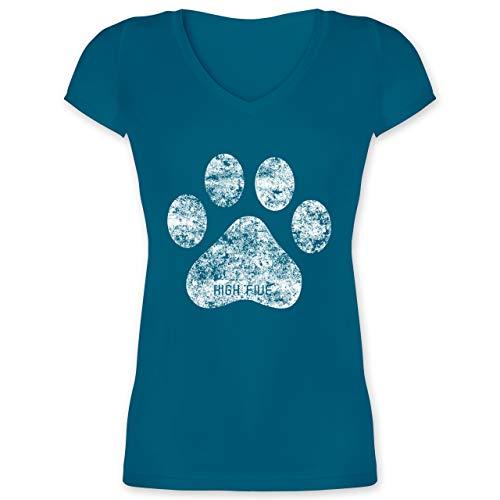Hunde - High Five Hunde Pfote - M - Türkis - t-Shirt Pfote Damen - XO1525 - Damen T-Shirt mit V-Ausschnitt