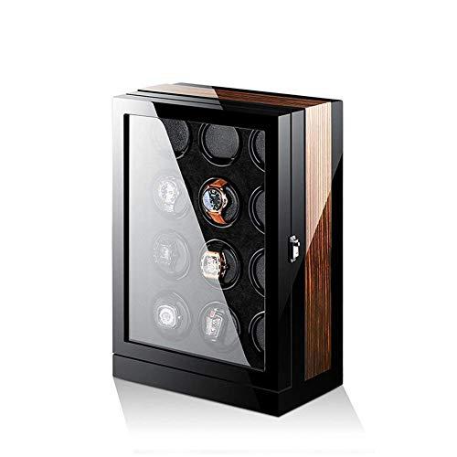 JYTFZD HAOYANG-Uhrenbox- Automatische Uhr Wicker-Kasten, 12 hölzerne Batterie Silentuhren Wickler-Display-Box Aufbewahrungskoffer schwarz und braun/hddsbybq-1075