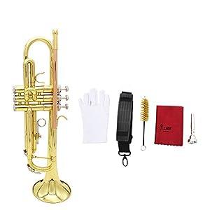 Andoer® Trompete Bb B Flache Blech Leuchtstoff Kupfer Vorzügliche mit Mundstück Reinigungsbürste Handschuh Bügel