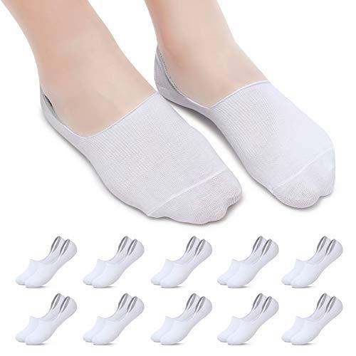 YOUCHAN 10 Paires Chaussette Femmes Hommes Socquette Basses Invisible Respirantes Anti-dérapant Coton