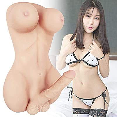 Life Size Shemale Toys - Full Size TPE Women Men 2-in-1 Torso Sex Dolls with 8 Inch Penis for Gay Adult Sex Toys Female Love Doll Silicone Male Masturbator Toy with Dildo (21×11×8in)