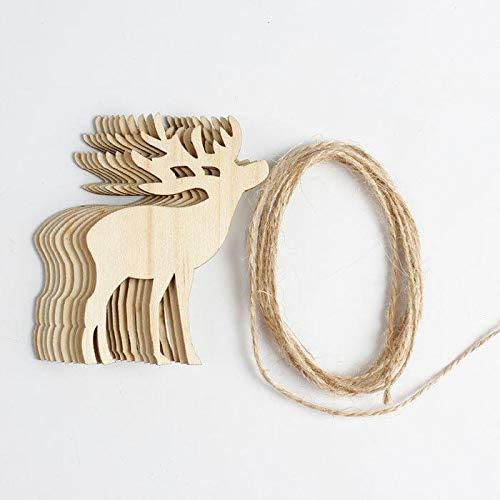 NLRHH Weihnachten 10 stücke Holz DIY Streamer Woodchips Girlande Hängende Kronleuchter Weihnachtsbaum Ornamente Geschenk DIY (Farbe: 1) Peng (Color : 1)