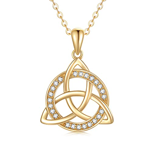 SISGEM 14K Solid Gold Celtic Knot Pendant Necklaces for Women,Yellow Gold Irish Trinity Circle Necklace with 5A CZ,Best Birthday Gift for Mom Wife Girls 16''+2''