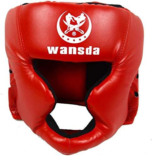 Protector de casco de boxeo para entrenamiento de adultos, competición, tipo cerrado, equipo de fitness para artes marciales, taekwondo, práctica piel sintética, karate(rojo)