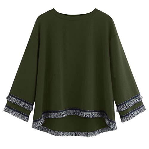 GOKOMO Lässige Frauen mit Rundhalsausschnitt Quaste Langarm Frauen Casual Langarm Tiered Fransen Quaste Bluse Jumper Pullover Tops(Armeegrün,XXX-Large)