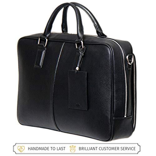 BFB Laptop Bag – Designer Computer Briefcase for Men Sell Out Stock - Handmade Executive Business Shoulder Messenger Bag - Ideal Commuter Bag for Work and Travel