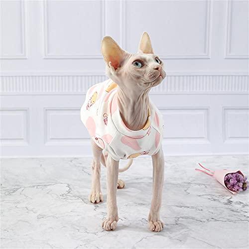 NELIT Hairness Cat Camiseta de Punto de algodón Hipoalergénico Sphynx Cat Clothes-White Vest_L