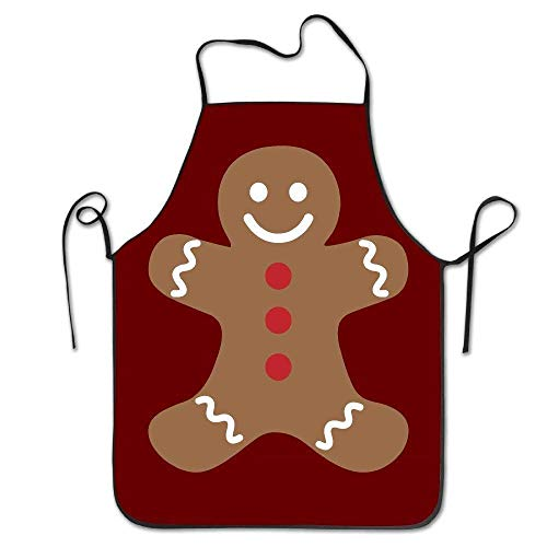 GOOESING Funny Design Apron Gingerbread Man Merry Christmas Cafe Adult Teen Kids Restaurant Pinafore with Neck Strap for Women Men Waitress Chef Home Barber Kitchen Gardening