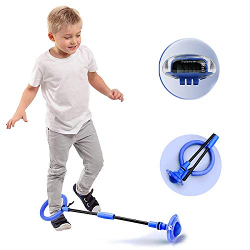 BIZBON Kids Detachable Ankle Skip Ball, Flashing Led Jumping Ring with Backpack and Pedometer,Children Colorful Ankle Skip Jump Ropes, Sports Swing Ball,Fat Burning Game for Adults Boys Girls (Blue)