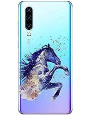 Oihxse Compatible con Huawei Y5 2019/honor 8S Funda Suave Gel TPU Silicona Cristal Transparente Carcasa Acuarela Animal Pintado Patrón Protectora Estuche Bumper Caso Case (B6)