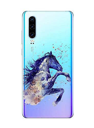 Oihxse Compatible con Huawei Mate 30 Funda Suave Gel TPU Silicona Cristal Transparente Carcasa Acuarela Animal Pintado Patrón Protectora Estuche Bumper Caso Case (B6)